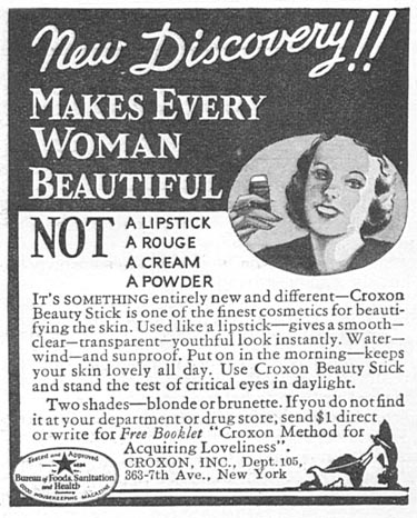 CROXON BEAUTY STICK GOOD HOUSEKEEPING 12/01/1933 p. 180