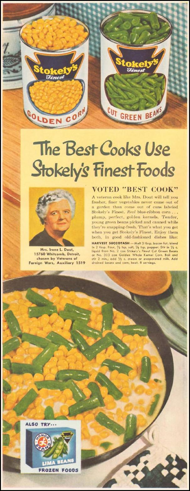 STOKELY'S FINEST CANNED VEGETABLES LADIES' HOME JOURNAL 11/01/1950 p. 170