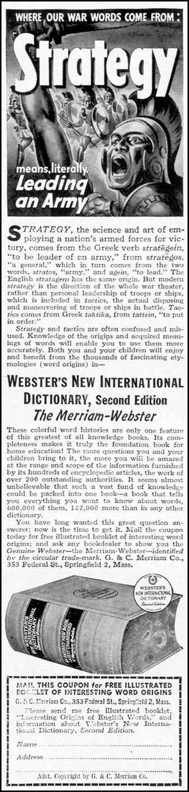 WEBSTER'S NEW INTERNATIONAL DICTIONARY LIFE 11/08/1943 p. 116