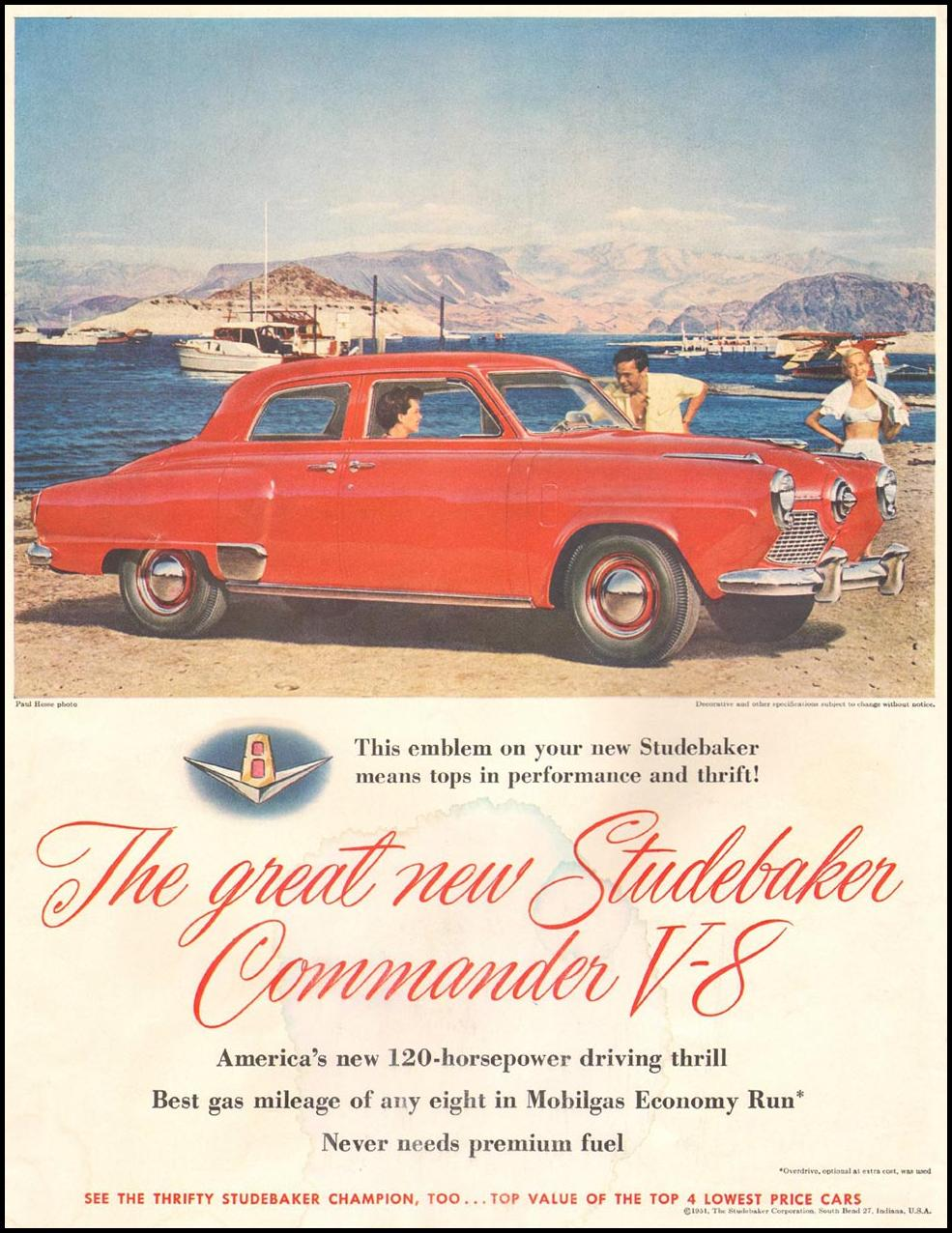 STUDEBAKER AUTOMOBILES LIFE 07/02/1951 INSIDE FRONT