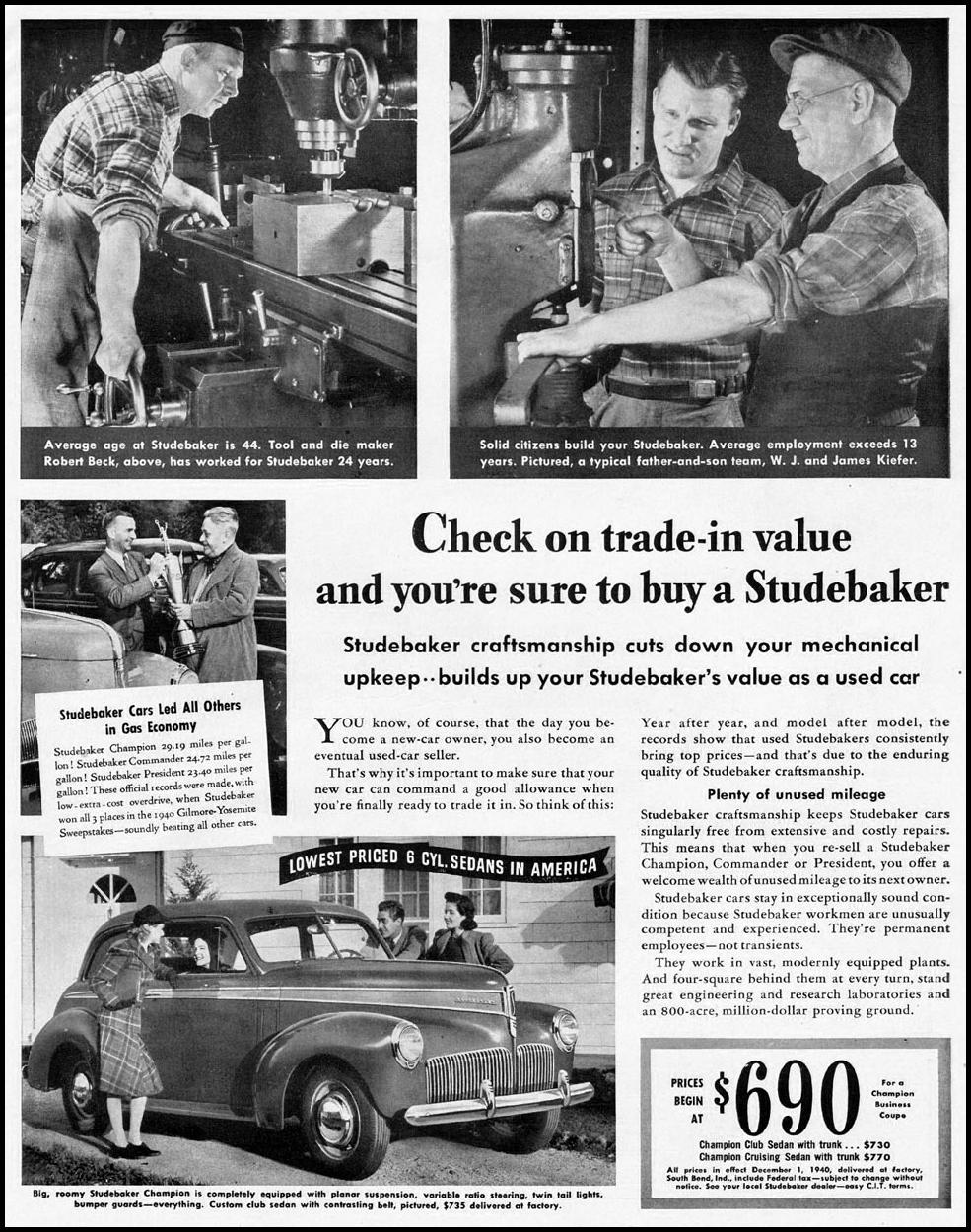 STUDEBAKER AUTOMOBILES LIFE 12/16/1940 p. 55