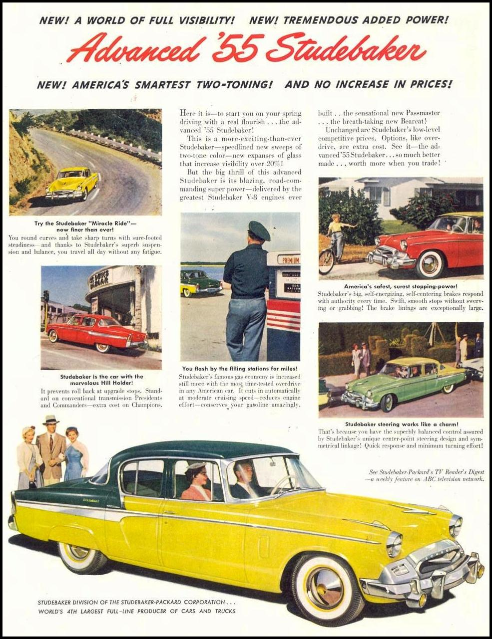 STUDEBAKER AUTOMOBILES SATURDAY EVENING POST 03/26/1955 p. 49