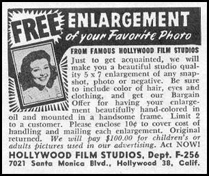 PHOTOGRAPH ENLARGEMENT PHOTOPLAY 08/01/1956 p. 91