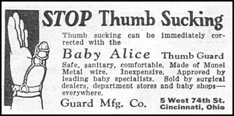 BABY ALICE THUMB GUARD GOOD HOUSEKEEPING 01/01/1932 p. 171