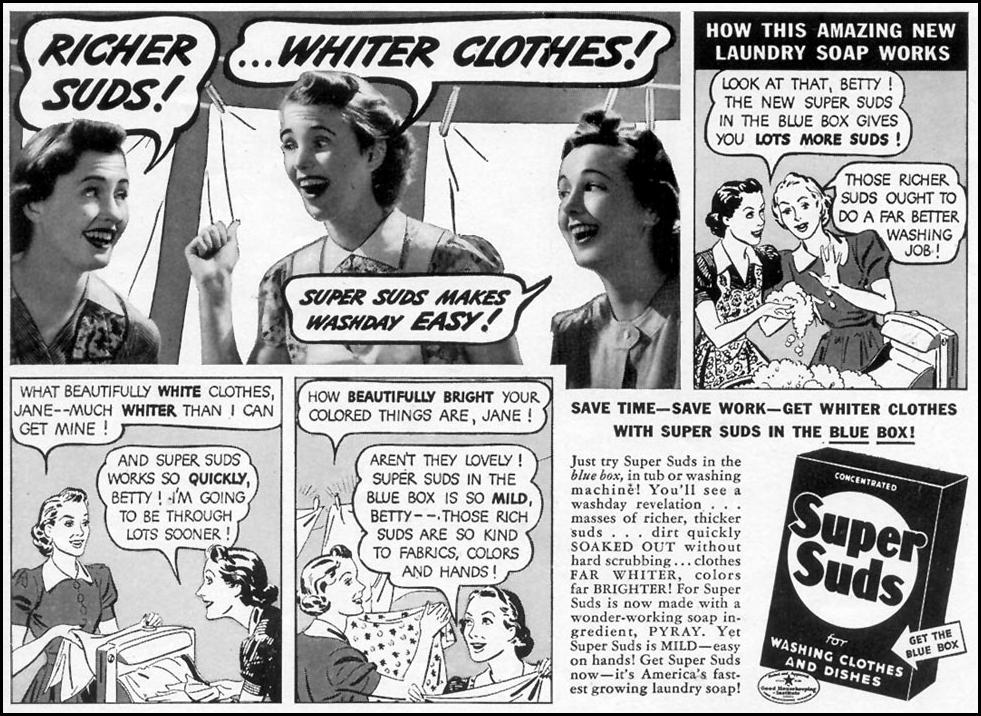SUPER SUDS LAUNDRY SOAP WOMAN'S DAY 10/01/1954 p. 49