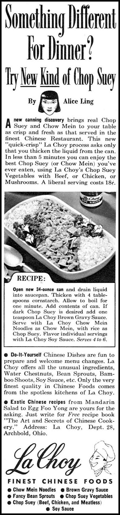 LA CHOY AMERICAN COOKED CHINESE FOODS FAMILY CIRCLE 02/01/1958 p. 60
