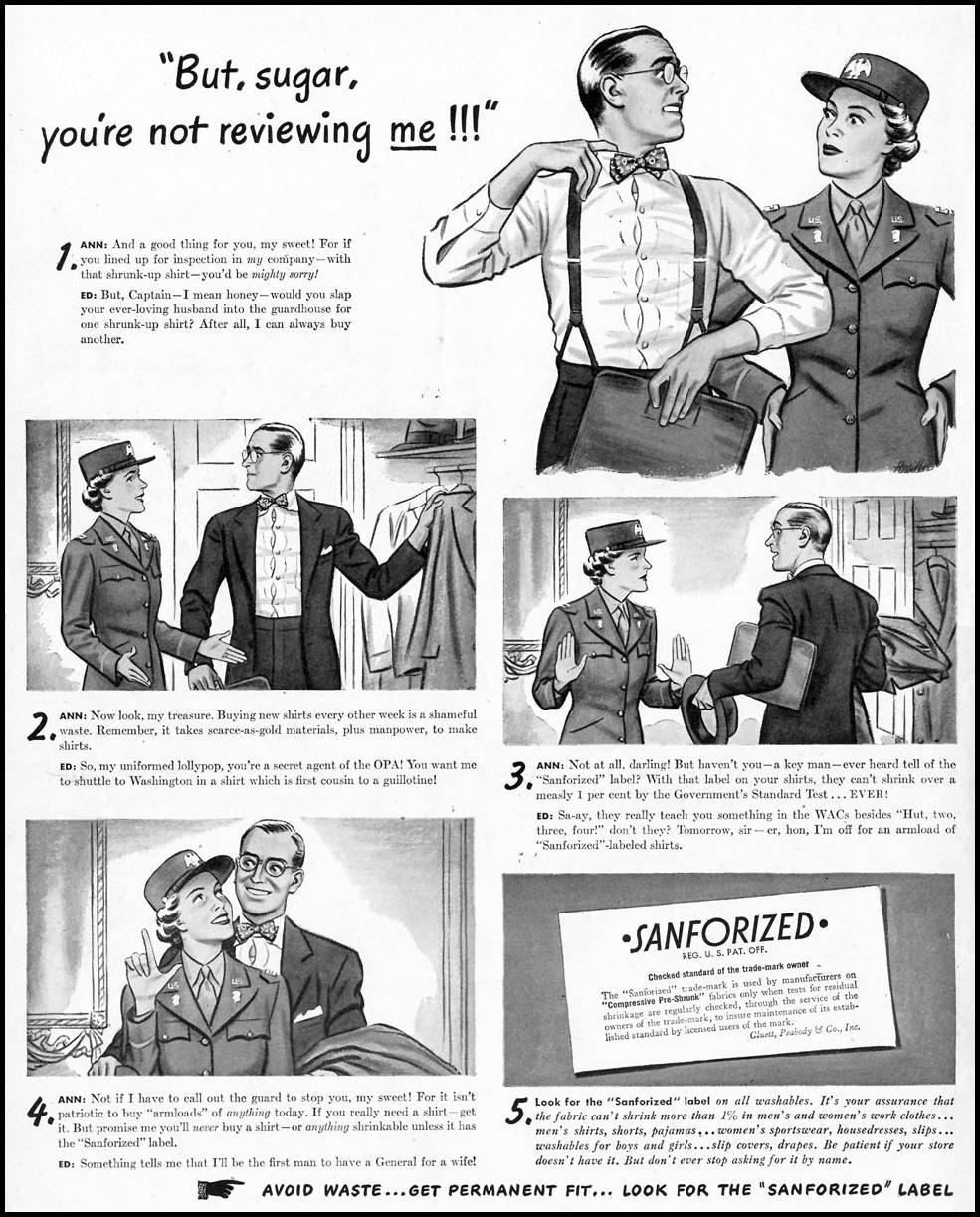 SANFORIZED PRE-SHRUNK FABRIC LIFE 02/28/1944 p. 14