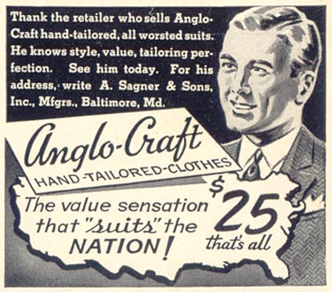 ANGLO-CRAFT HAND TAILORED CLOTHES LIFE 09/30/1940 p. 102