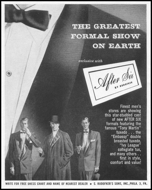 AFTER SIX MEN'S FORMAL WEAR LIFE 10/13/1952 p. 122