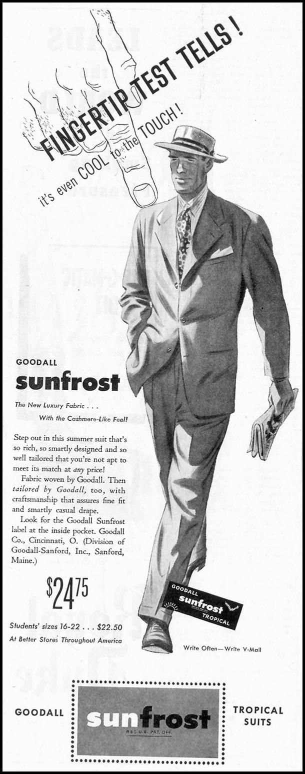 GOODALL SUNFROST SUITS SATURDAY EVENING POST 05/19/1945 p. 66