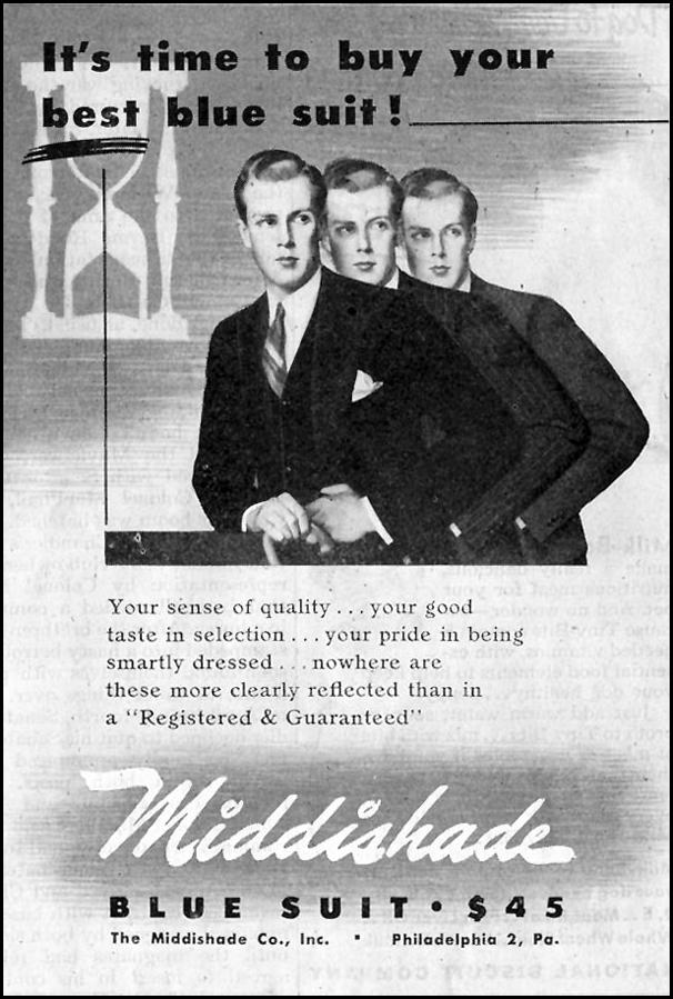 MIDDISHADE BLUE SUIT SATURDAY EVENING POST 10/06/1945 p. 107