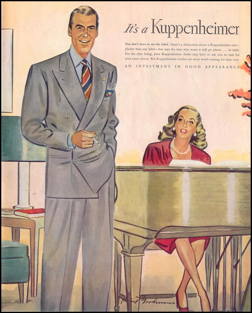 KUPPENHEIMER SUITS SATURDAY EVENING POST 10/06/1945 p. 115