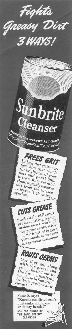 SUNBRITE CLEANSER WOMAN'S DAY 11/01/1945 p. 90
