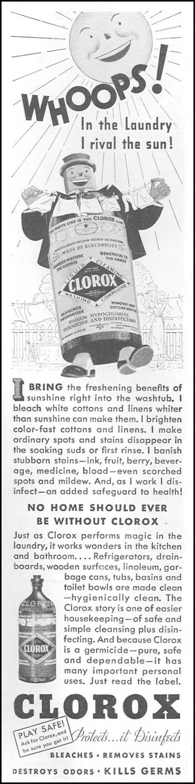 CLOROX BLEACH GOOD HOUSEKEEPING 06/01/1935 p. 150