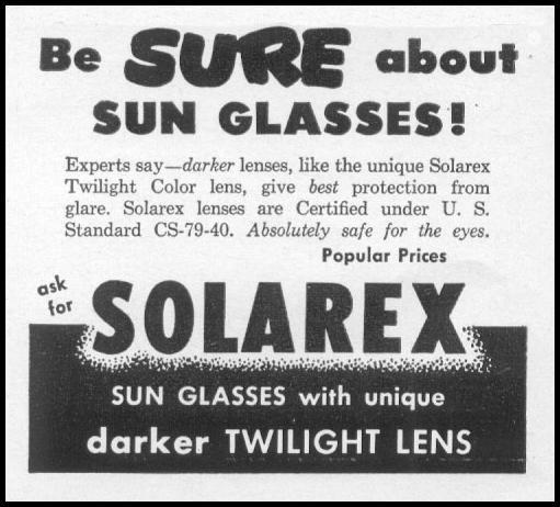 SOLAREX SUNGLASSES LIFE 06/05/1950 p. 48
