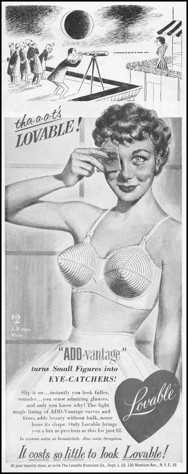 LOVABLE ADD-VANTAGE BRASSIERES LIFE 10/13/1952 p. 108