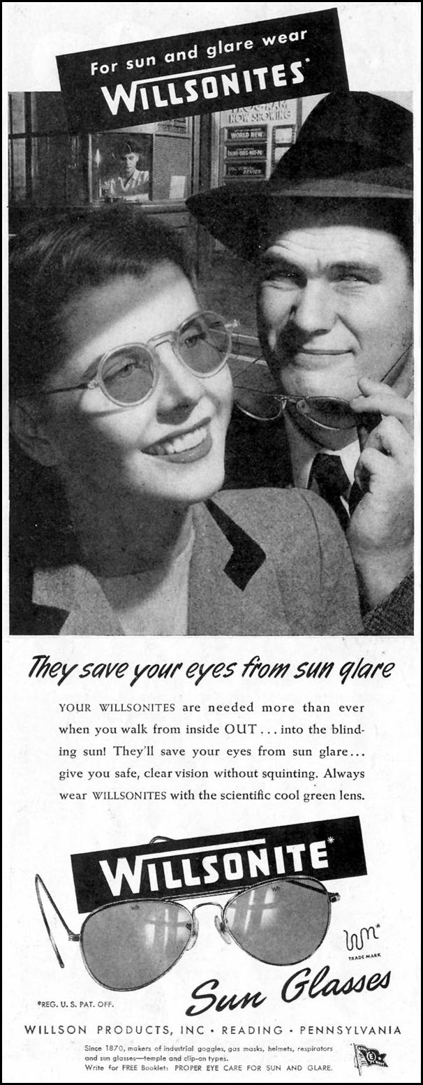 WILLSONITE SUN GLASSES SATURDAY EVENING POST 10/06/1945 p. 48