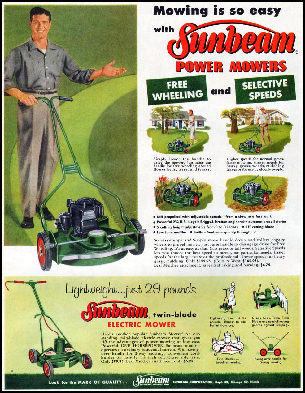 SUNBEAM POWER MOWERS LIFE 04/01/1957 p. 21