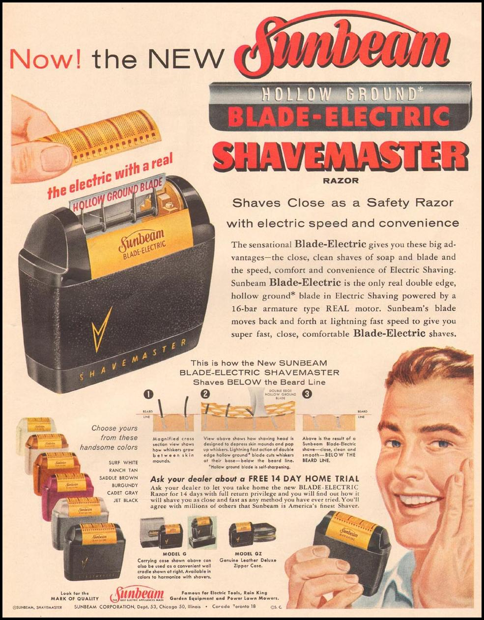 SUNBEAM SHAVEMASTER ELECTRIC SHAVER LIFE 09/09/1957 p. 13