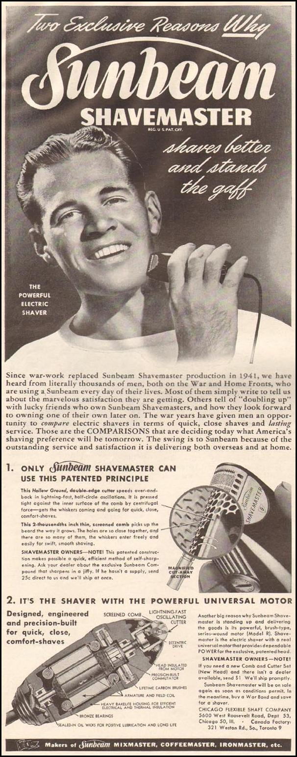 SUNBEAM SHAVEMASTER ELECTRIC SHAVER LIFE 10/23/1944 p. 8