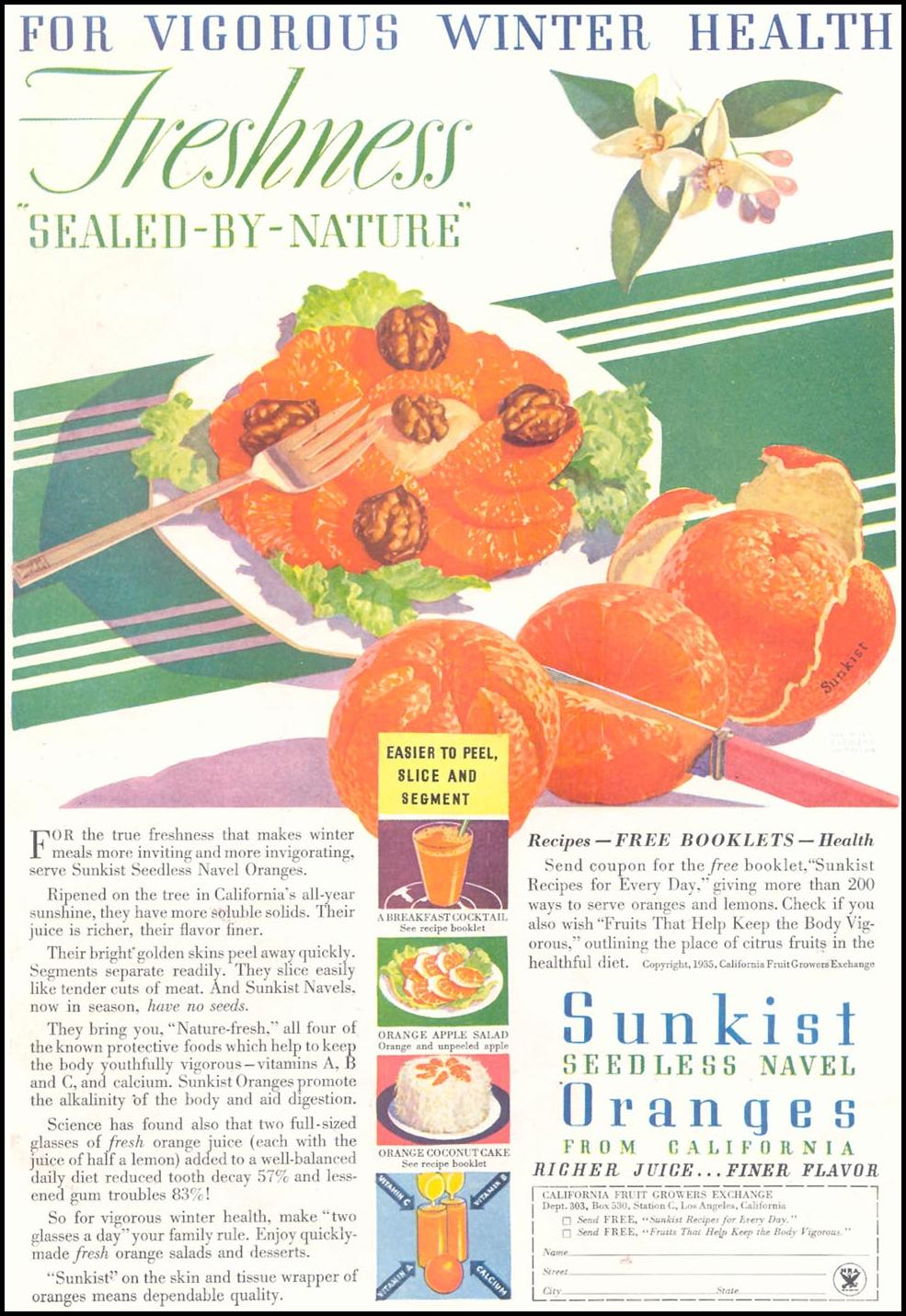 SUNKIST SEEDLESS NAVEL ORANGES GOOD HOUSEKEEPING 03/01/1935