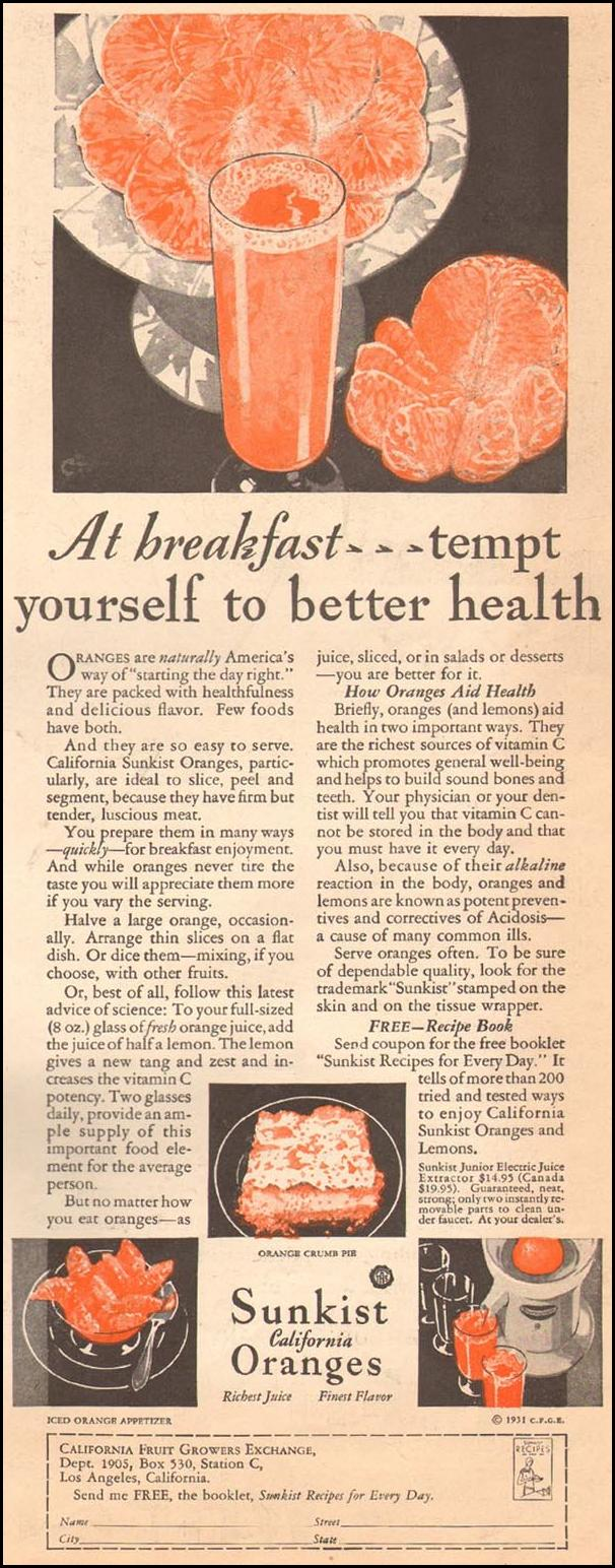 SUNKIST CALIFORNIA ORANGES THE HOME MAGAZINE 05/01/1931 p. 25