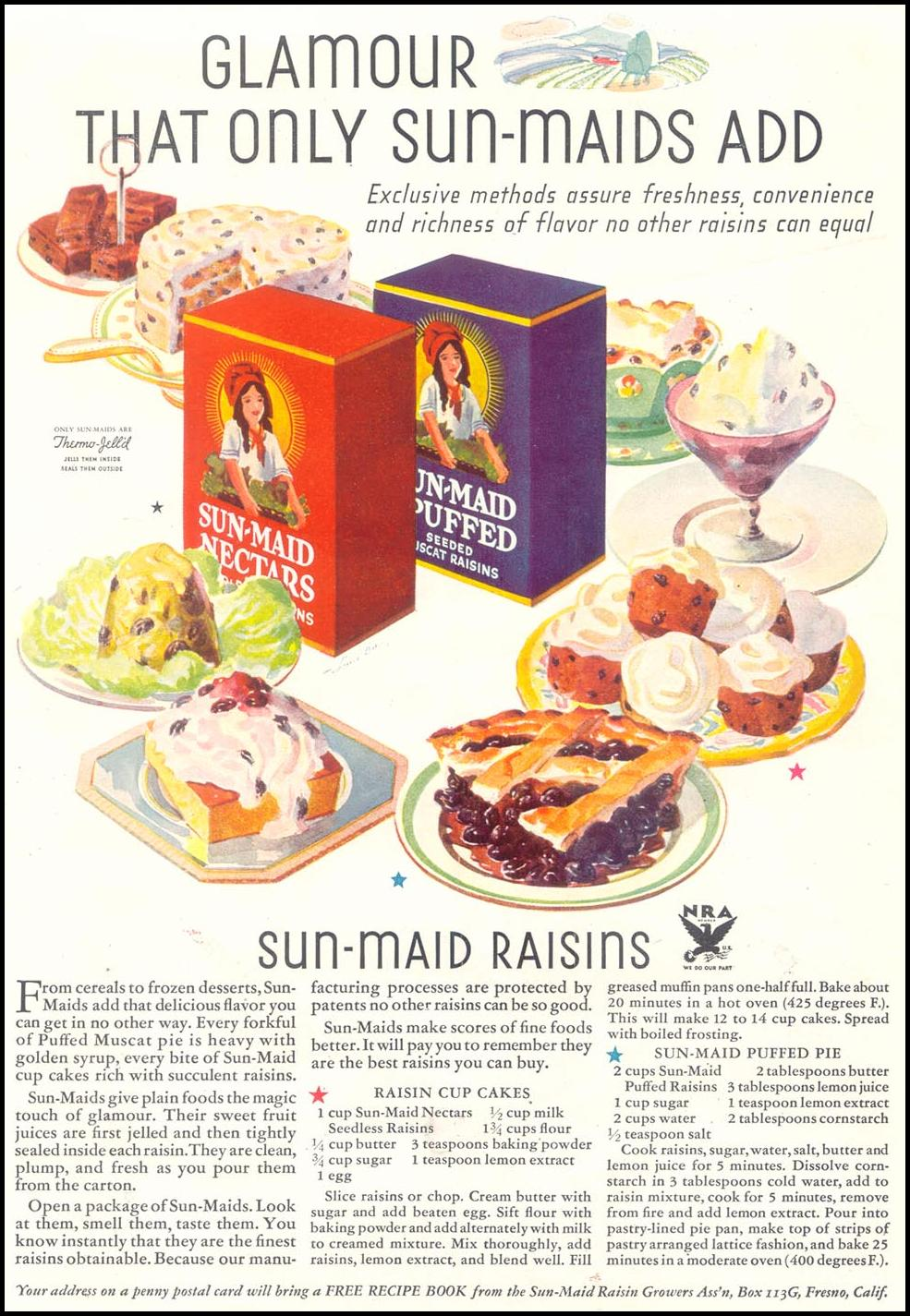 SUN-MAID RAISINS GOOD HOUSEKEEPING 11/01/1933