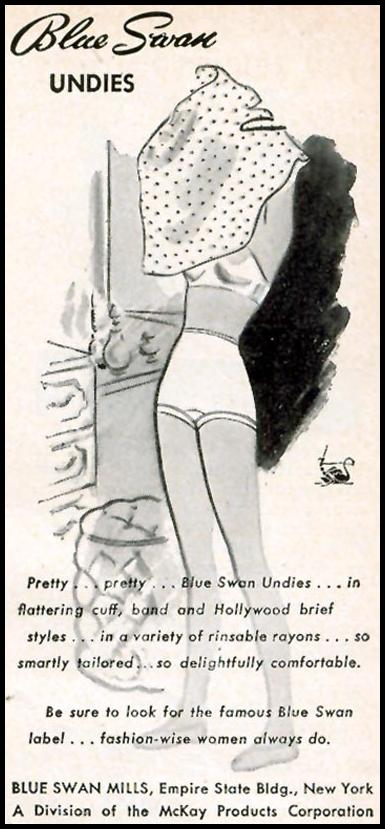 BLUE SWAN UNDIES WOMAN'S DAY 09/01/1946 p. 85