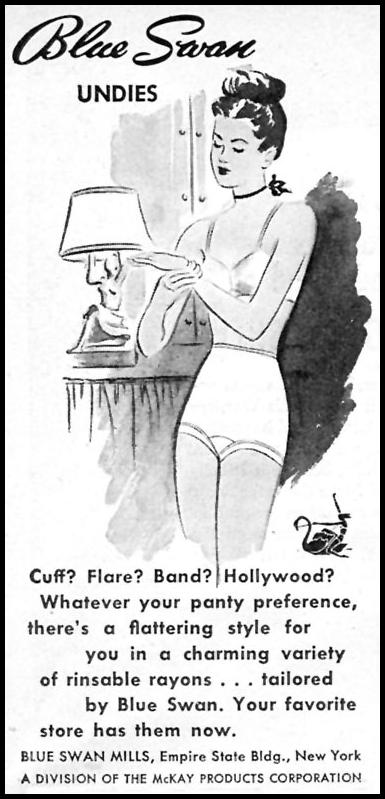 BLUE SWAN UNDIES WOMAN'S DAY 10/01/1946 p. 104
