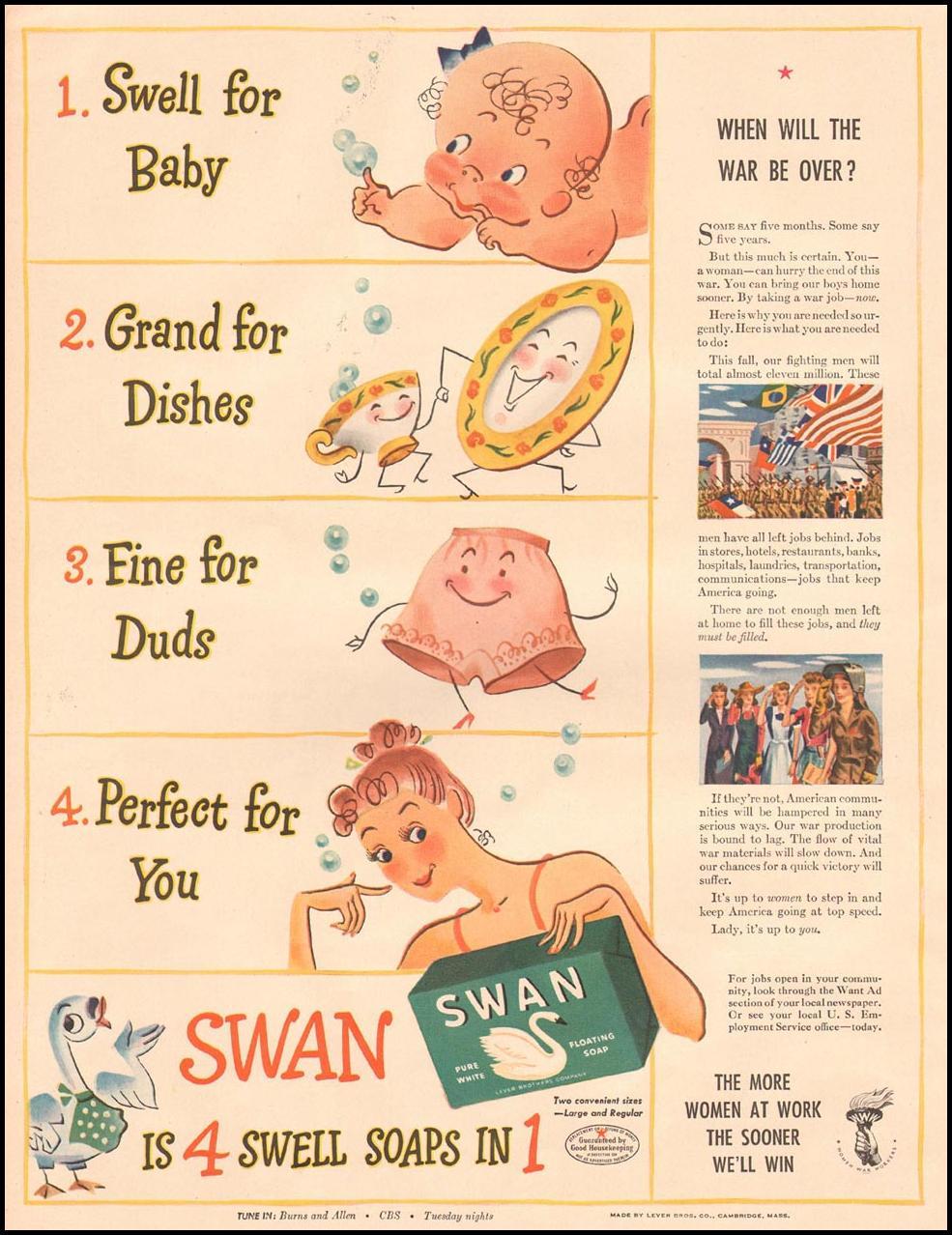 SWAN SOAP LIFE 10/11/1943 p. 50