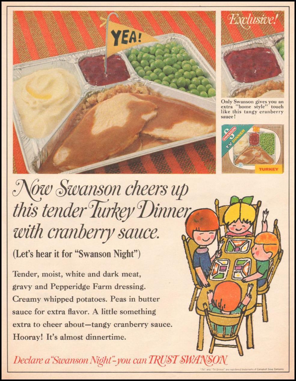 SWANSON TV DINNERS LIFE 11/04/1966 p. 36