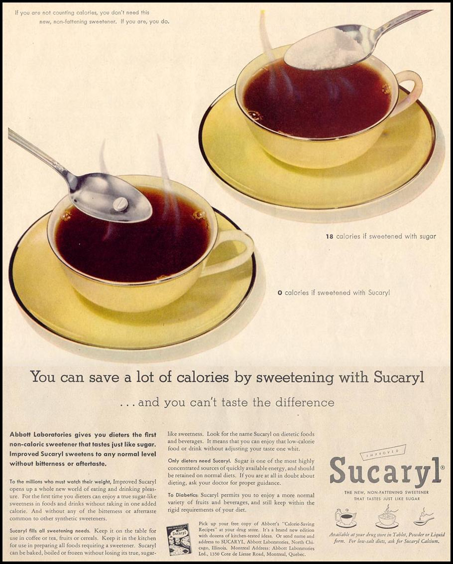 SUCARYL ARTIFICIAL SWEETENER LIFE 11/14/1955 p. 121