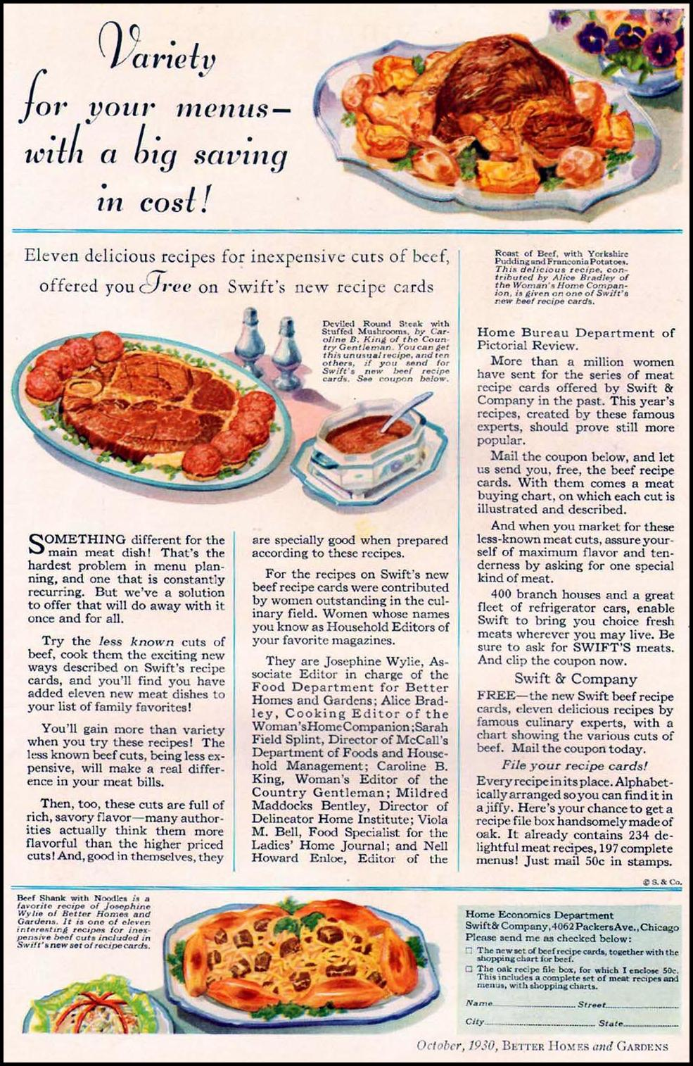 SWIFT'S MEATS BETTER HOMES AND GARDENS 10/01/1930 p. 12
