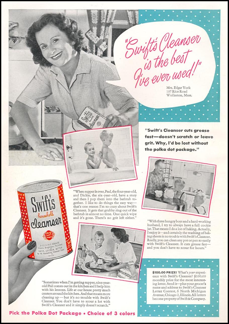 SWIFT'S CLEANSER WOMAN'S DAY 01/01/1949 INSIDE FRONT