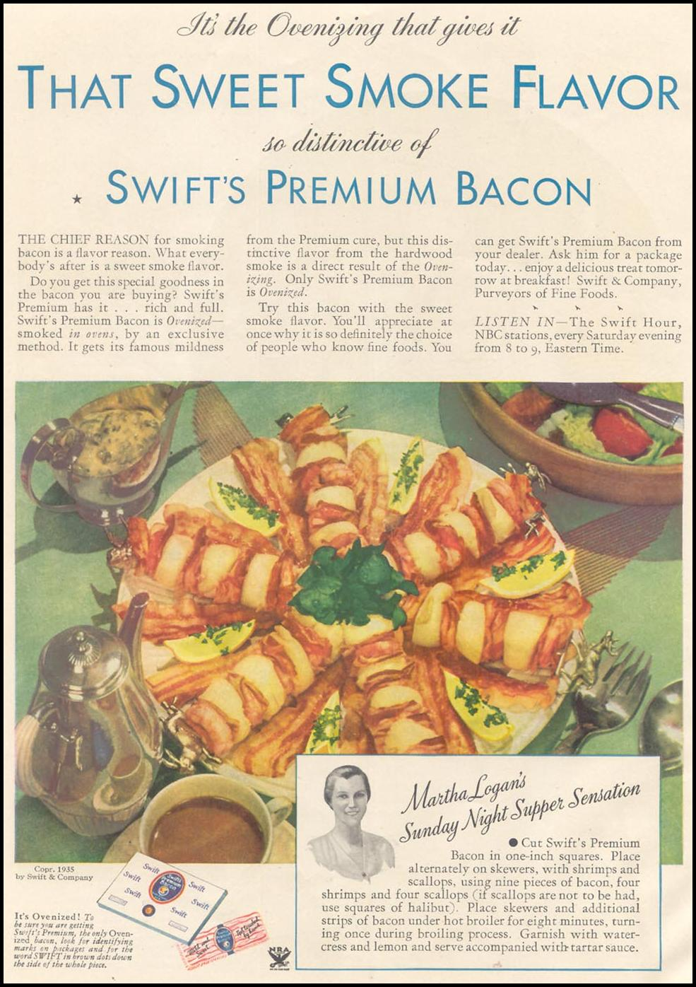 SWIFT'S PREMIUM BACON GOOD HOUSEKEEPING 03/01/1935