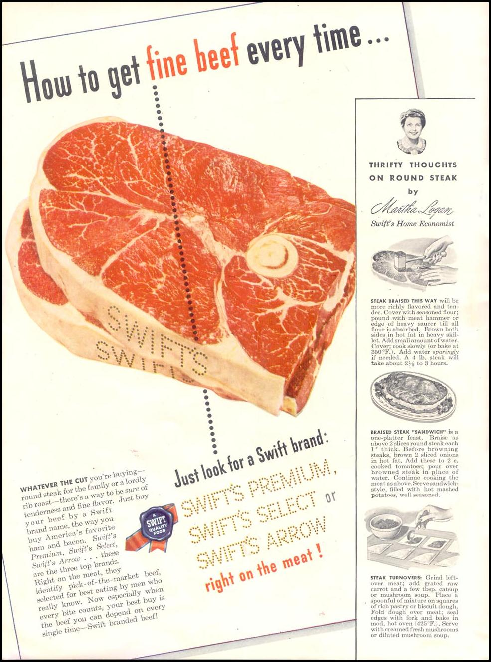 SWIFT'S PREMIUM BEEF GOOD HOUSEKEEPING 07/01/1948