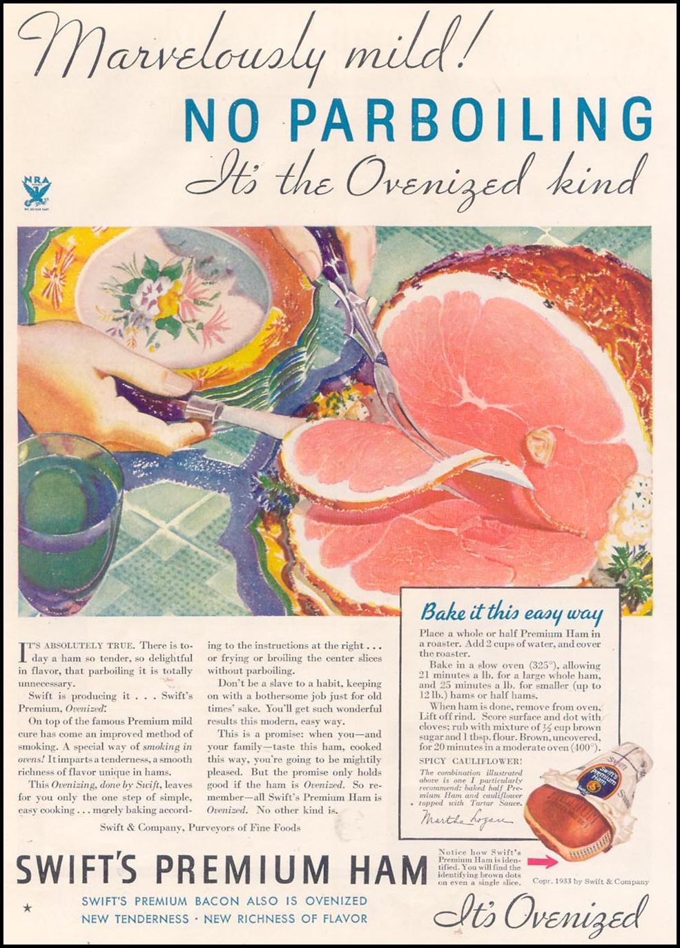 SWIFT'S PREMIUM HAM GOOD HOUSEKEEPING 11/01/1933