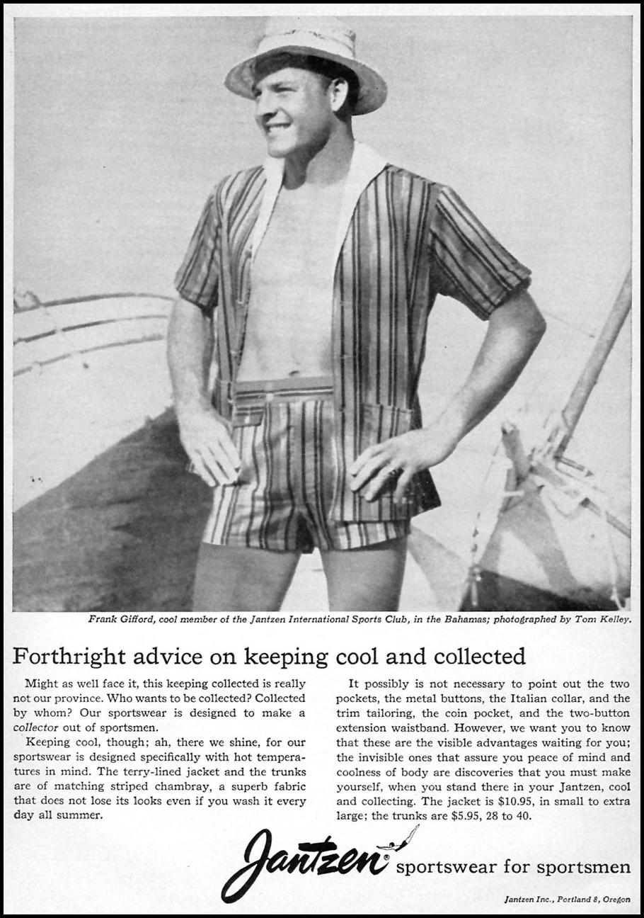 JANTZEN SPORTSWEAR FOR SPORTSMEN SPORTS ILLUSTRATED 05/25/1959 p. 55