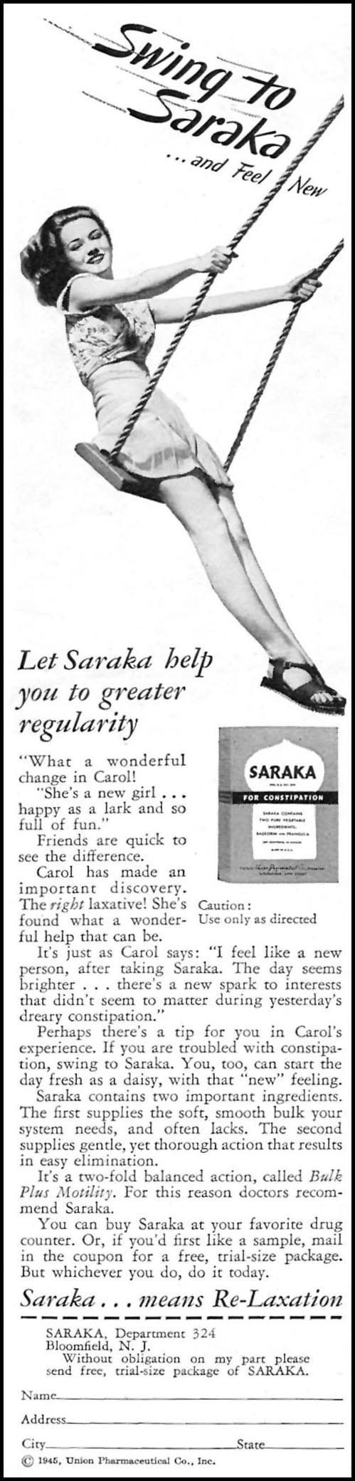 SARAKA LAXATIVE WOMAN'S DAY 07/01/1945