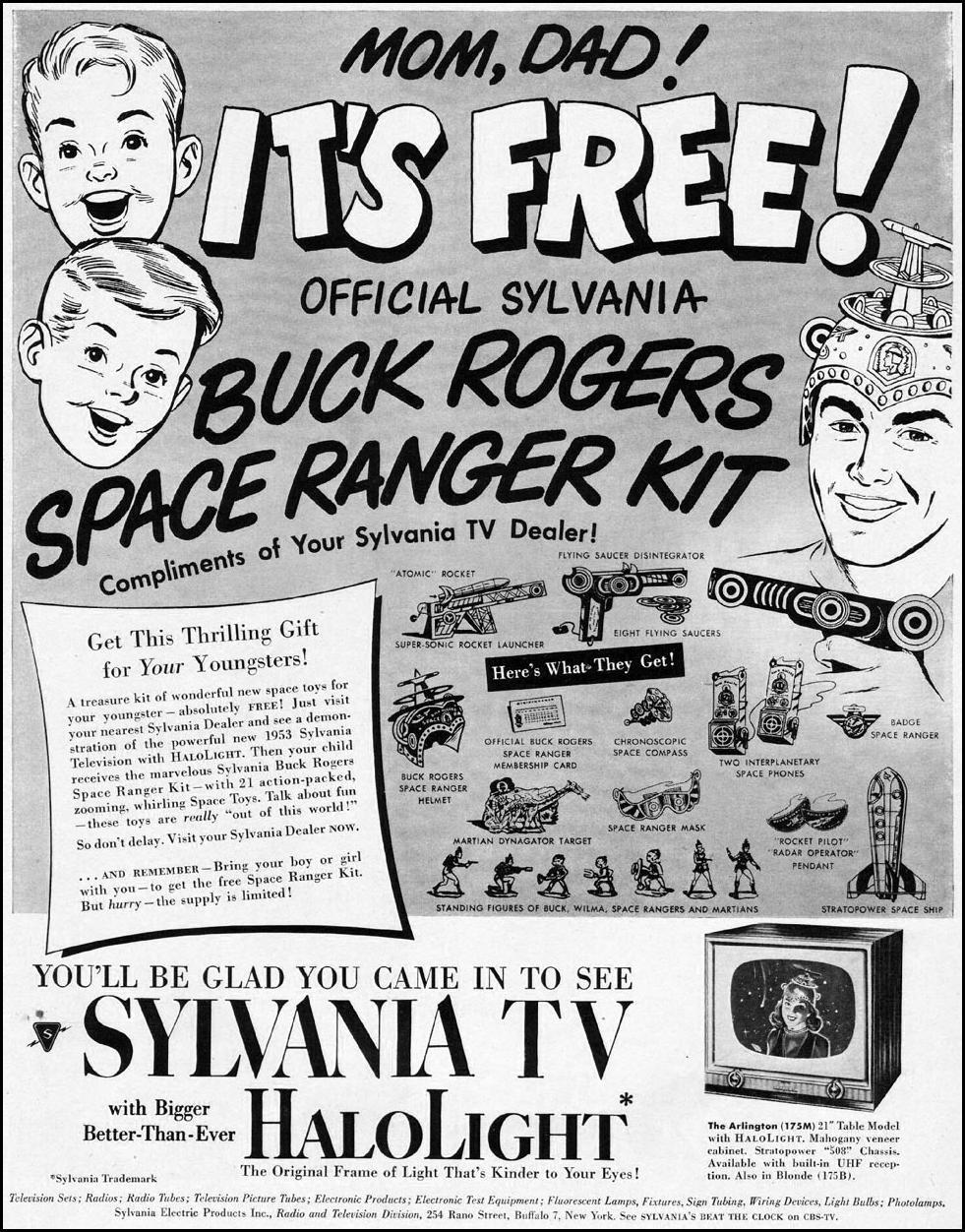 SYLVANIA HALOLIGHT TELEVISION LIFE 10/13/1952 p. 55