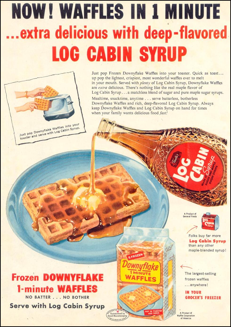 LOG CABIN SYRUP WOMAN'S DAY 03/01/1954 p. 104