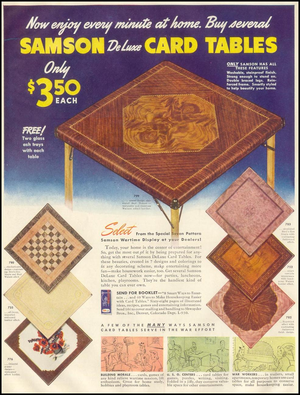 SAMSON DELUXE CARD TABLES LIFE 11/30/1942