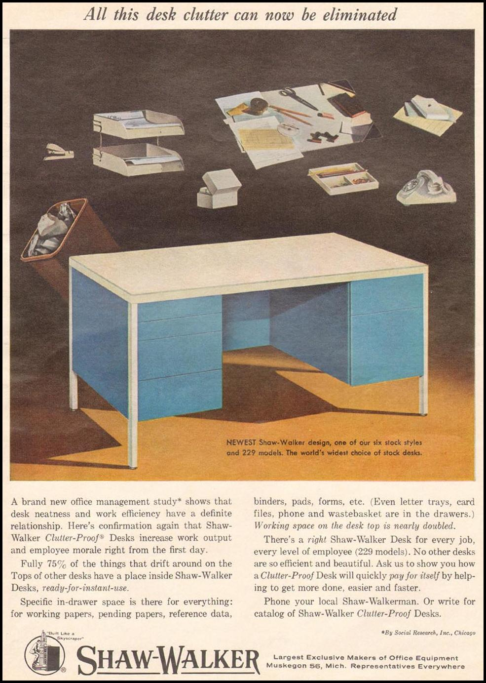 SHAW-WALKER CLUTTER-PROOF DESKS NEWSWEEK 10/12/1964