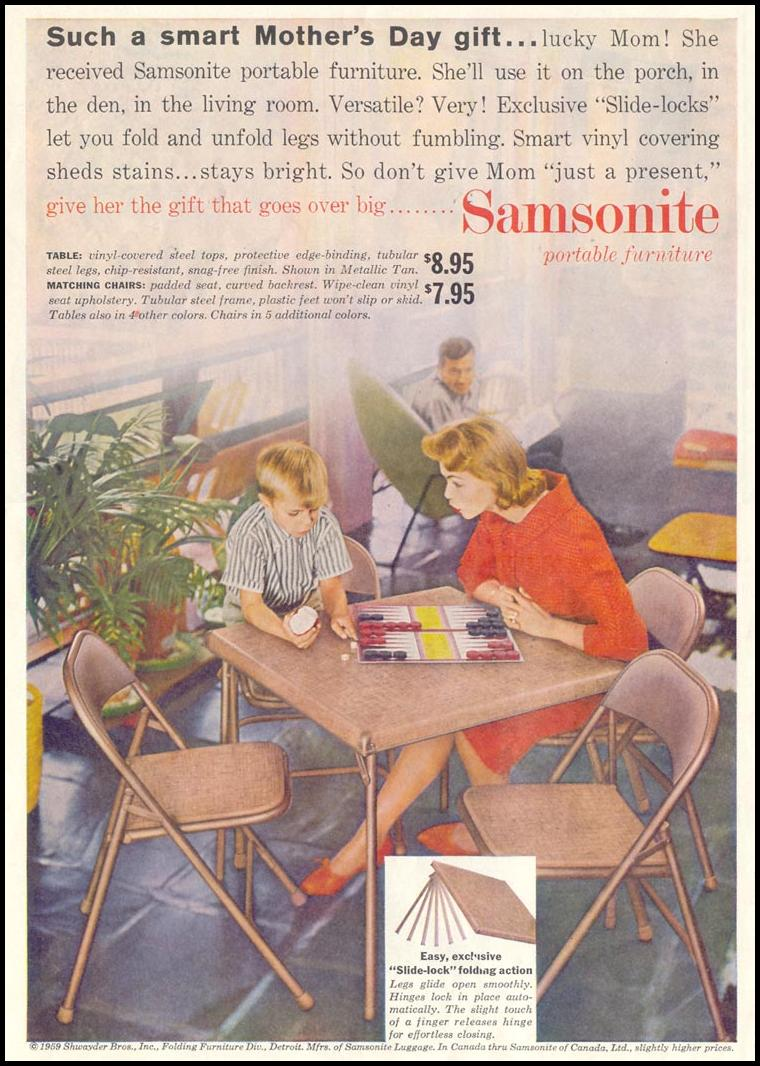 SAMSONITE PORTABLE FURNITURE SATURDAY EVENING POST 05/02/1959 p. 44