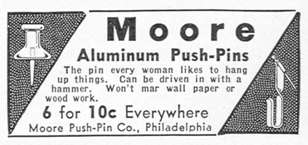 MOORE ALUMINUM PUSH PINS GOOD HOUSEKEEPING 12/01/1934 p. 205