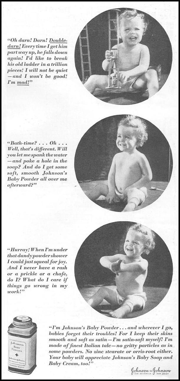 JOHNSON'S BABY POWDER GOOD HOUSEKEEPING 06/01/1935 p. 185