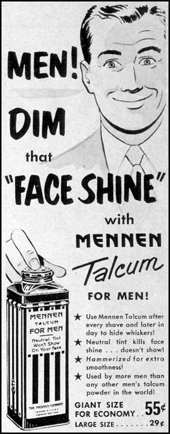 MENNEN TALCUM FOR MEN! LOOK 12/04/1951 p. 10