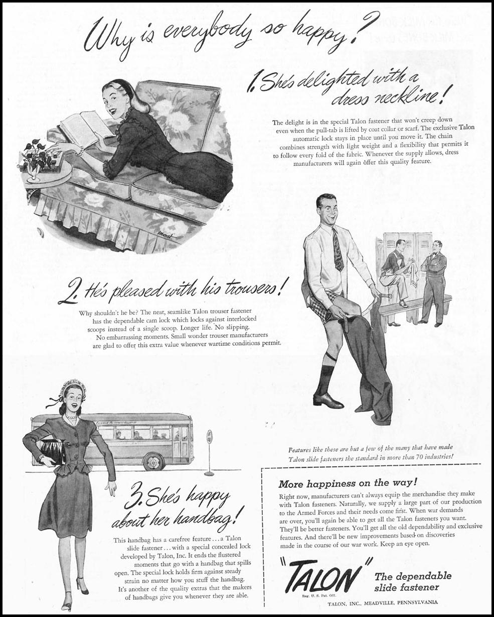 TALON SLIDE FASTENERS SATURDAY EVENING POST 05/19/1945 p. 67