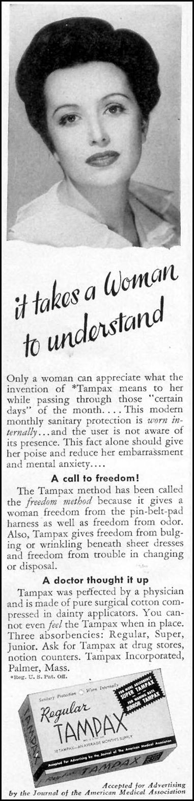 TAMPAX WOMAN'S DAY 02/01/1950 p. 28