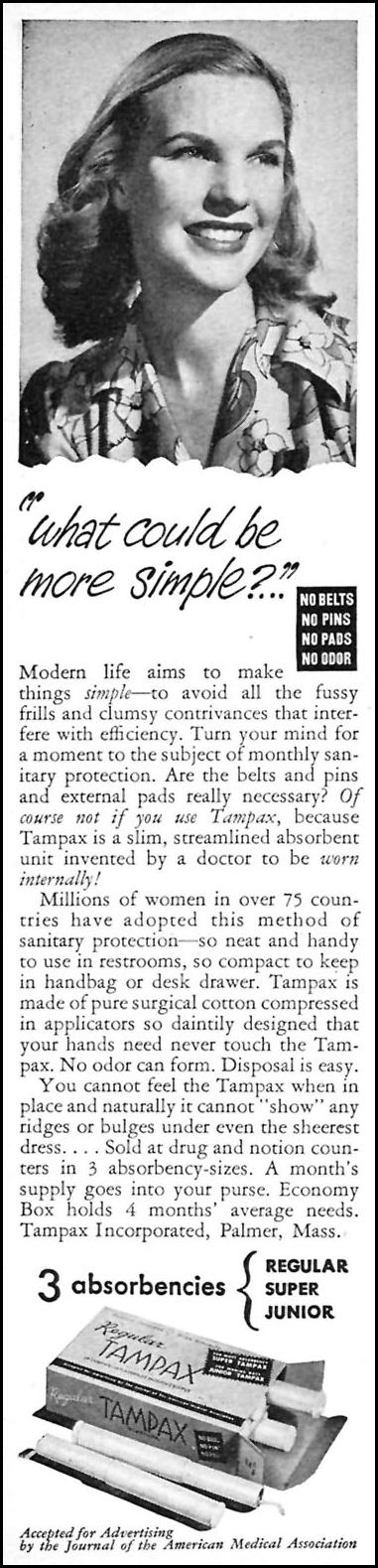 TAMPAX WOMAN'S DAY 04/01/1946 p. 72